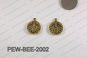 PEWTER CHARM BEE 20MM GOLD PEW-BEE-2002