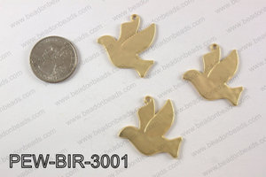 Pewter bird charm 30x35 mm, matte gold PEW-BIR-3001