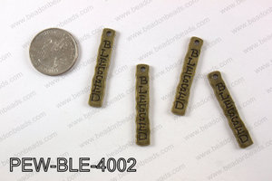 Pewter blessed charm 7X 40 mm, brass PEW-BLE-4002