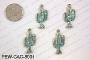 Pewter cactus charm 15x30mm, patina finishPEW-CAC-3001
