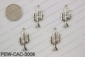 Pewter cactus charm 15x30mm, silverPEW-CAC-3006