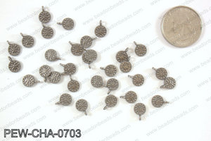 Pewter tiny coin charms 7mm, gunmetal PEW-CHA-0703