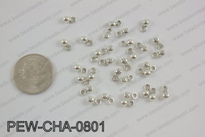 Pewter charm 4x8mm, silver PEW-CHA-0801