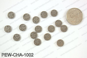 Pewter coin charms 10mm, gunmetal PEW-CHA-1002