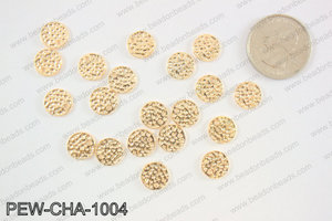 Pewter coin charms 10mm, KC gold PEW-CHA-1004