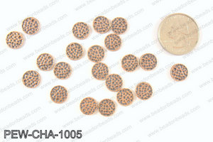 Pewter coin charms 10mm, copper PEW-CHA-1005