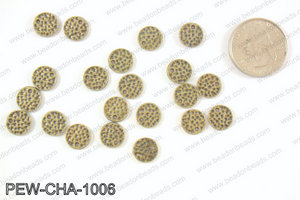 Pewter coin charms 10mm, bronze PEW-CHA-1006