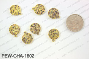 Pewter coin charms 15mm, gold PEW-CHA-1502