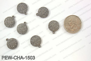Pewter coin charms 15mm, gunmetal PEW-CHA-1503