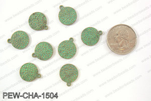 Pewter coin charms 15mm, patina PEW-CHA-1504