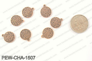 Pewter coin charms 15mm, copper PEW-CHA-1507