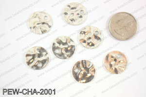 Pewter coin charms 20mm, silver PEW-CHA-2001