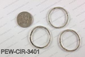 Pewter circle 34mm, silver PEW-CIR-3401