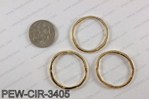 Pewter circle 34mm, light gold PEW-CIR-3405