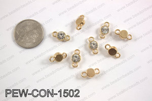 Pewter crystal connector 7x15mm, gold PEW-CON-1502