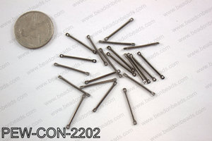 Pewter connector bar 2x22mm, gun metalPEW-CON-2202
