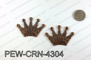 IAM BLESSED Crown Pendants 43x60mm, Copper PEW-CRN-4304