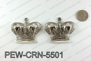 Pewter puff crowns 55x63mm, Silver PEW-CRN-5501
