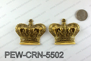 Pewter puff crowns 55x63mm, Gold PEW-CRN-5502