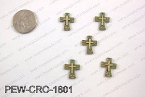 Pewter cross charms 18x14mm, patina finish PEW-CRO-1801