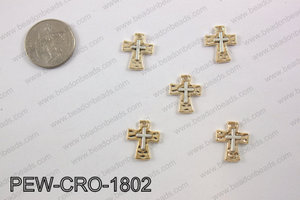 Pewter cross charms 18x14mm, gold PEW-CRO-1802