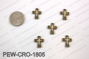 Pewter cross charms 18x14mm, copper PEW-CRO-1805