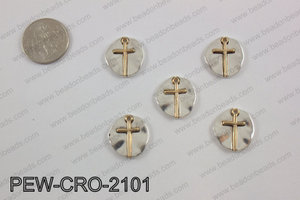 Coin cross charms 20x20mm, silver PEW-CRO-2101