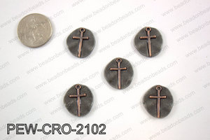 Coin cross charms 20x20mm, gun metal PEW-CRO-2102