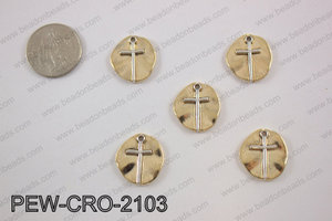 Coin cross charms 20x20mm, gold PEW-CRO-2103