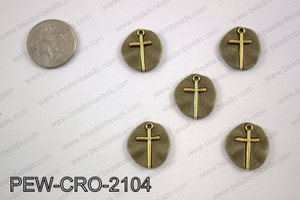 Coin cross charms 20X20mm, broze PEW-CRO-2104