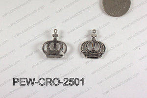 Pewter Crown Charm 20x25mm  silver PEW-CRO-2501