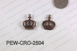 Pewter Crown Charm 20x25mm  copper PEW-CRO-2504