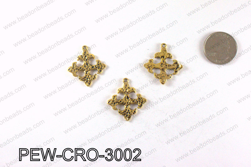 Pewter cross pendant 30x28mm, Gold PEW-CRO-3002
