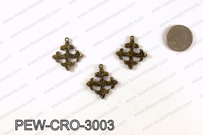 Pewter cross pendant 30x28mm, Bronze PEW-CRO-3003