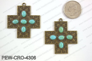Pewter cross pendant w/ howlite 43x43mm, bronze PEW-CRO-4306