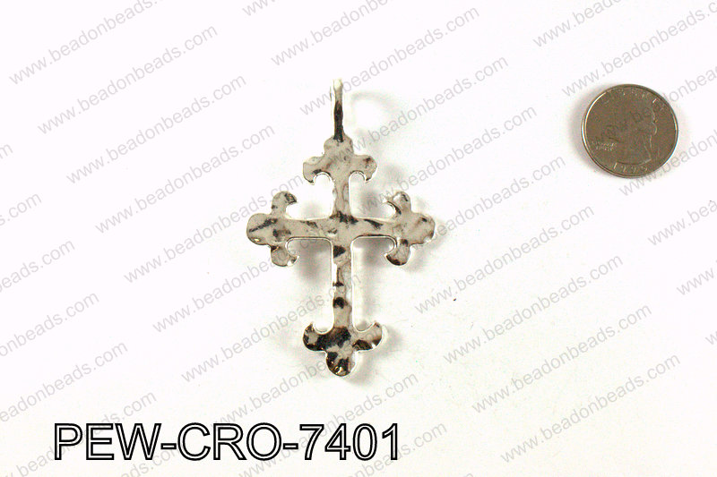 Pewter cross pendant 74x47mm, Silver PEW-CRO-7401