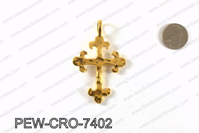 Pewter cross pendant 74x47mm, Gold PEW-CRO-7402