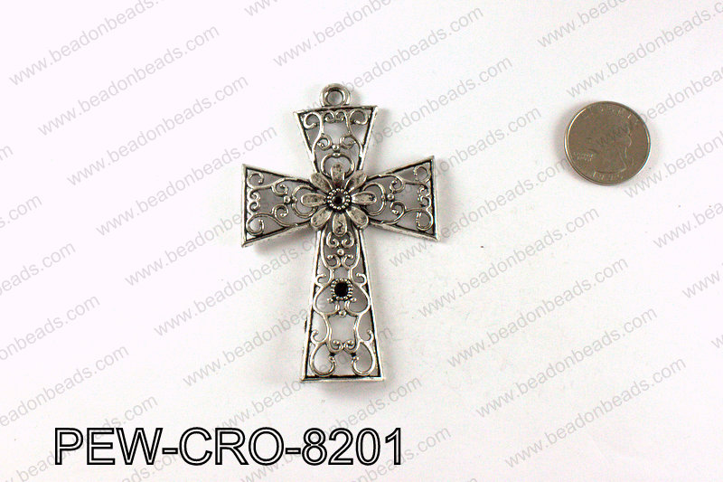Pewter cross pendant 82x54mm, Silver PEW-CRO-8201