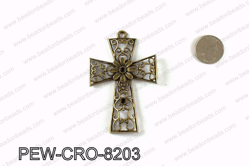 Pewter cross pendant 82x54mm, Bronze PEW-CRO-8203