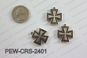 Pewter Cross silver 22mm x 24mm PEW-CRS-2401