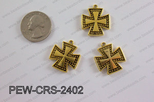 Pewter Cross gold 22mm x 24mm PEW-CRS-2402