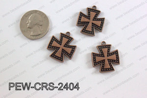 Pewter Cross copper 22mm x 24mm PEW-CRS-2404