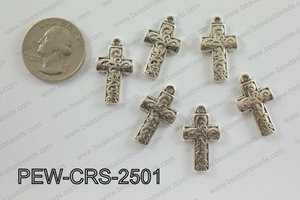 Pewter Cross silver 14mm x 25mm PEW-CRS-2501