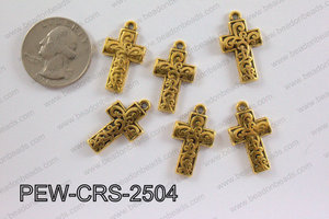 Pewter Cross gold 14mm x 25mm PEW-CRS-2504