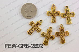 Pewter Cross gold 20mm x 28mm PEW-CRS-2802