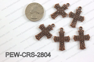 Pewter Cross copper 20mm x 28mm PEW-CRS-2804