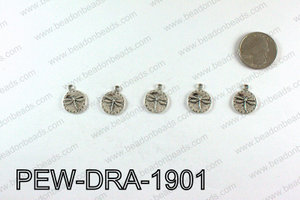 Pewter Dragonfly charms 19x15mm, Silver PEW-DRA-1901