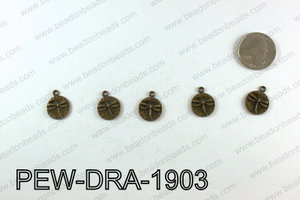 Pewter Dragonfly charms 19x15mm, Bronze PEW-DRA-1903