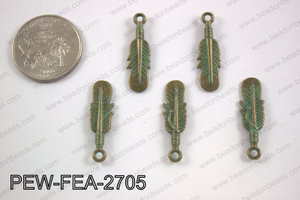 Pewter feather charms 27x8mm, turquoise patina coating PEW-FEA-2
