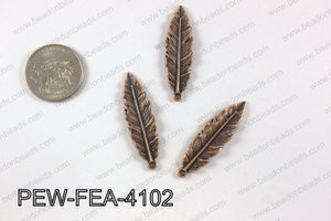 Pewter feather pendant 10x41 mm, copper PEW-FEA-4102